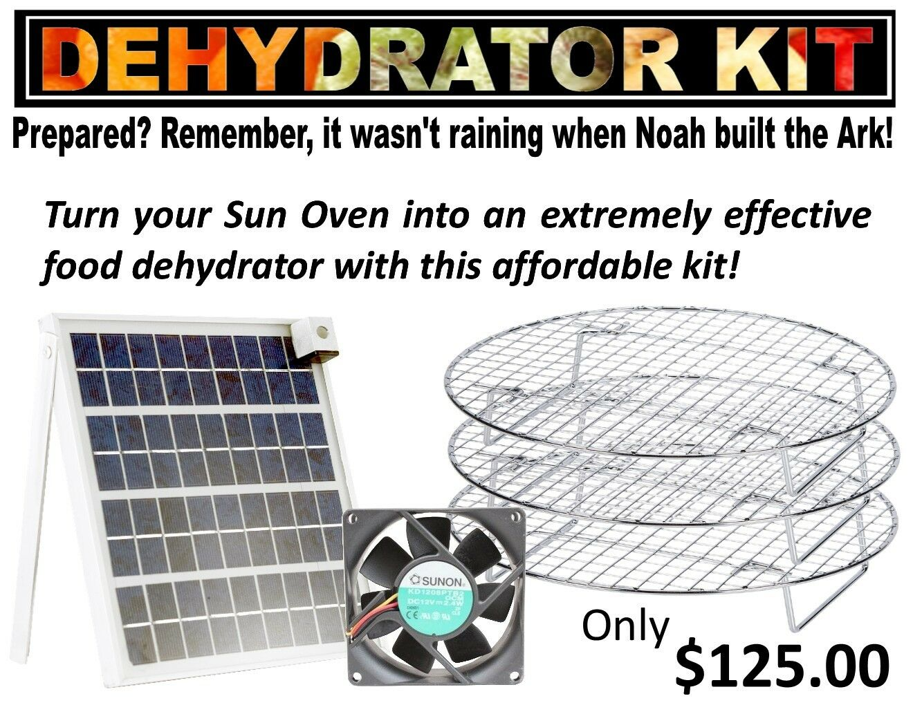 Professional Solar Oven Dehydrator Kit-Fits All Solar Box-type Sol Ovens 20%off
