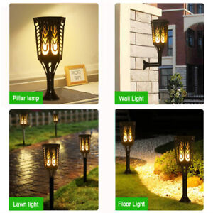 4Pack 96 LED Rectangle Solar Flames Dancing Torch Light Waterproof Wall Light AU