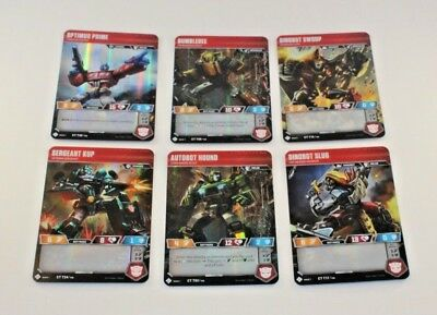 Transformers TCG Set Common Character Cards Optimus Wave 1 LOT of 6 AUTOBOTS