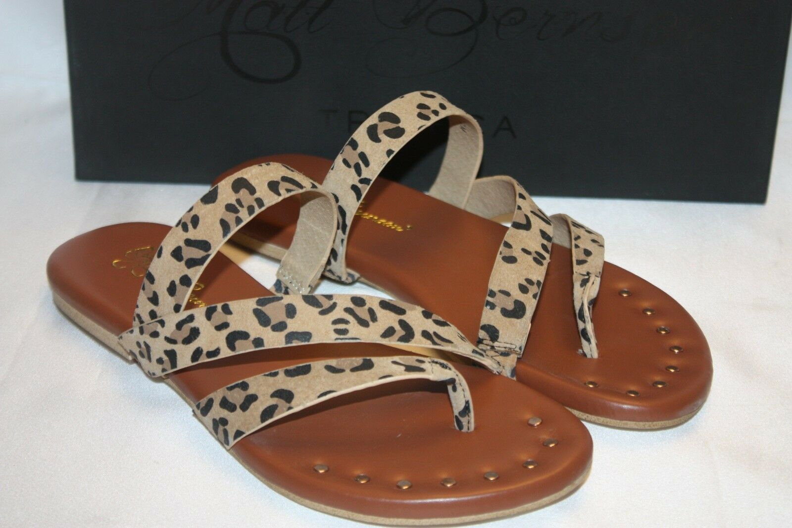 NEW! NIB! MATT BERNSON New York Tan Leopard Suede Leather Flat Sandal Sz 6 $110
