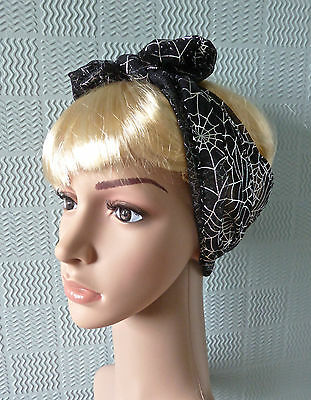 gothic rockabilly hair scarf headband bandana black lace tie silver spiders webs