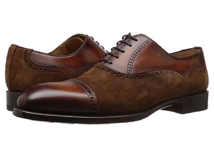 Magnanni Men's Cognac Leather Suede Oxfords, US 9.5