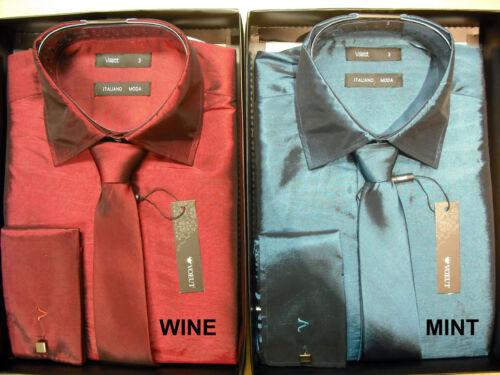 Para HOMBRE VOEUT MODA Camisa Corbata Gemelos Box set Brillo TEGA XS S M L XL XXL