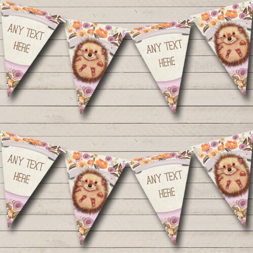Floral Baby Woodland Hedgehog Personalized Childrens Party Bunting Banner