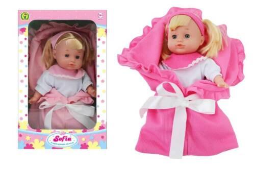 Bambola bambolotto per bambina prima infanzia Sofia bionda con coperta rosa 24m+