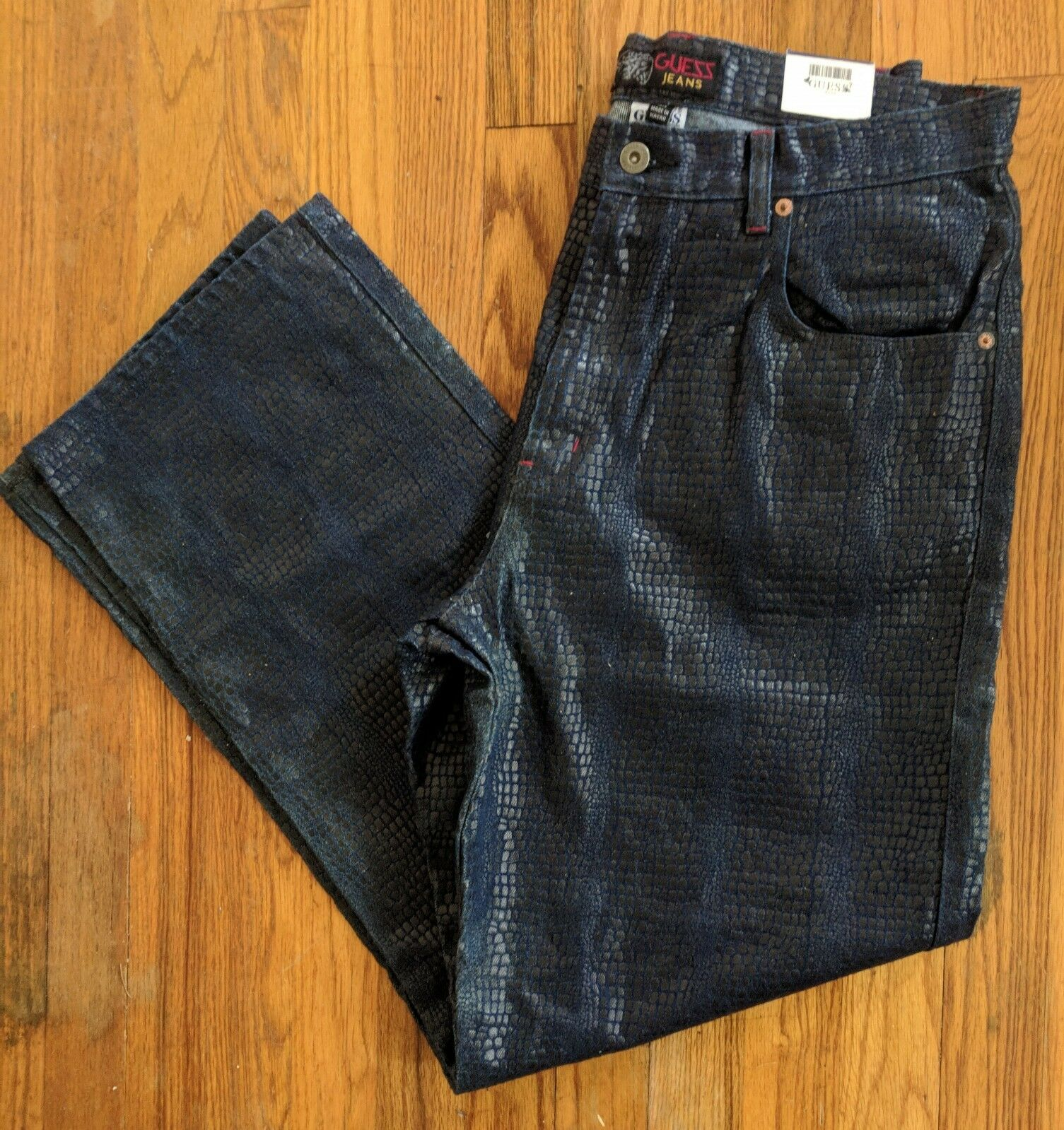 af1db7a1 Vintage Guess Men's Alligator Navy bluee Jeans Pants RARE Classic x 32  Print 33 napitv679-Jeans