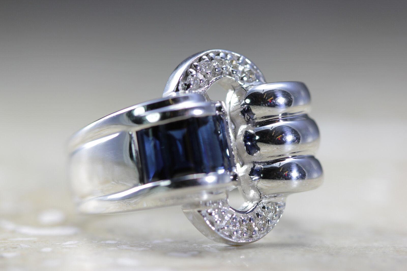 MODERN 14K WHITE gold SAPPHIRE CHANNEL PAVE SETTING & DIAMOND RING 1.40 CTW