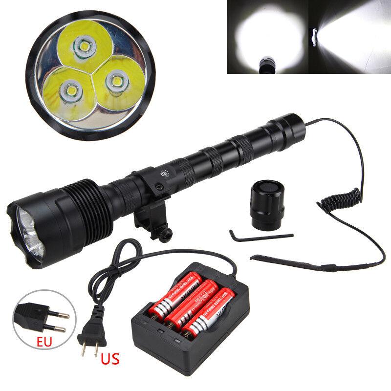 9000LM 3X XM-L T6 LED 3T6 Flashlight Torch 3x18650 Remote Pressure Switch Mount