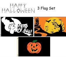 3x5 Happy Halloween 3 Flag Wholesale Set #2 3'x5' House Banner Grommets