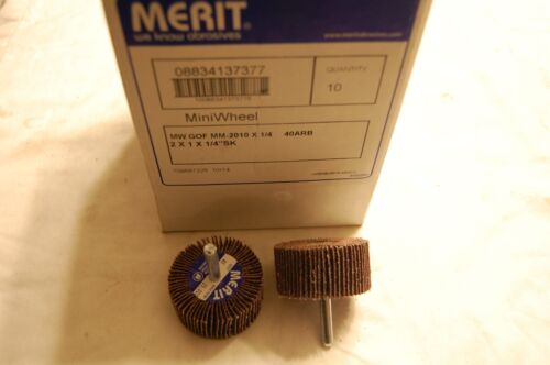 "Qty of 10 Merit 2/""X1/""1//4/"" SK Mini Flap Wheel 40 Grit"