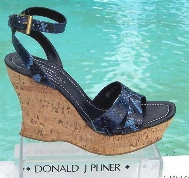 Donald Pliner Couture Hand Carved Cork Pitone Pelle Wedge Shoe New 11  250 NIB