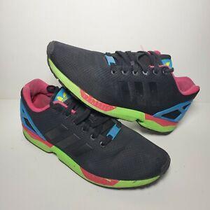 Adidas Mens Torsion ZX Flux Shoes Core Black Pink Neon Running ...