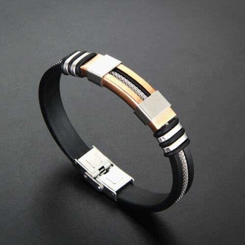 Black Stainless Steel Silicone Bracelets Hidden-safety-clasp Unisex Jewelry Dp`