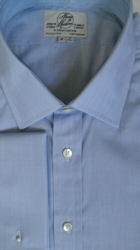 "Harvie /& Hudson 19//36/"" 2-Fold Cotton End on End Blue Shirt Double Cuff Reg Fit"
