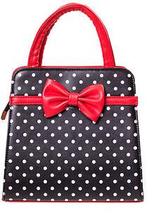 Banned Rockabilly 50s Vintage Polka Dot Bow Purse Handbag Black Christmas Red