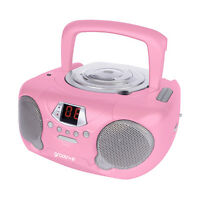 NEW GROOV-E BOOMBOX PORTABLE CD PLAYER WITH RADIO AND HEADPHONE JACK - PINK