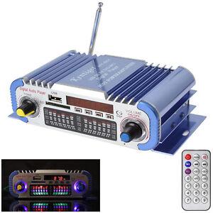 Mini HiFi Digital FM Radio USB SD Audio MP3 Player Car Power Amplifier Blue