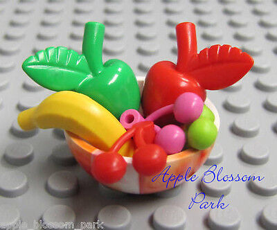 NEW Lego Minifig Food BOWL OF FRUIT - Friends Red Green Apple Pink Cherry Banana