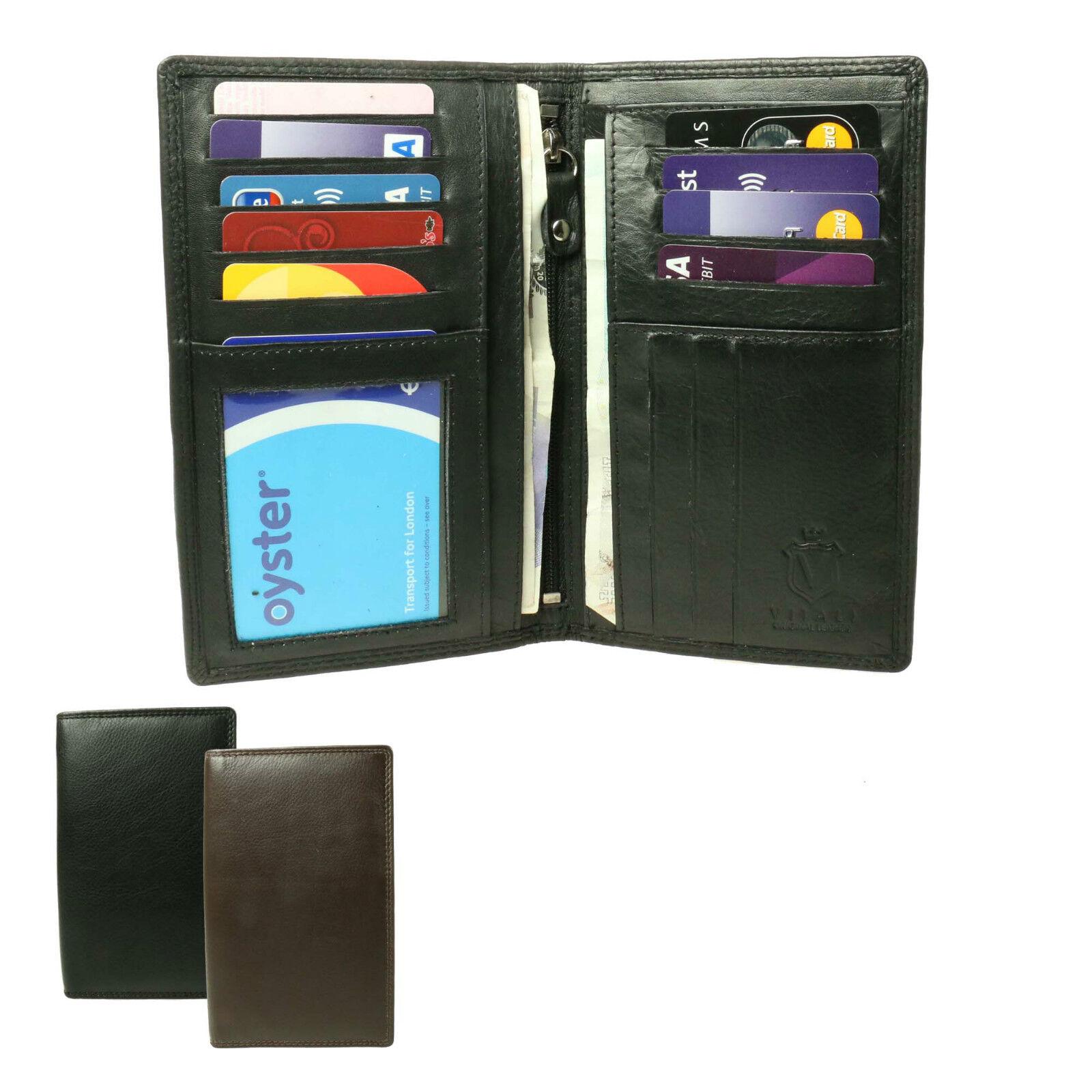 Mens Genuine Real Bifold Credit Card Holder Upright Suit Leather Wallet 613