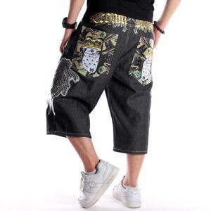 Mens-Jeans-Shorts-Raw-Denim-Capri-Pants-Hip-Hop-Embroidery-Poker-Wings-W30-W44