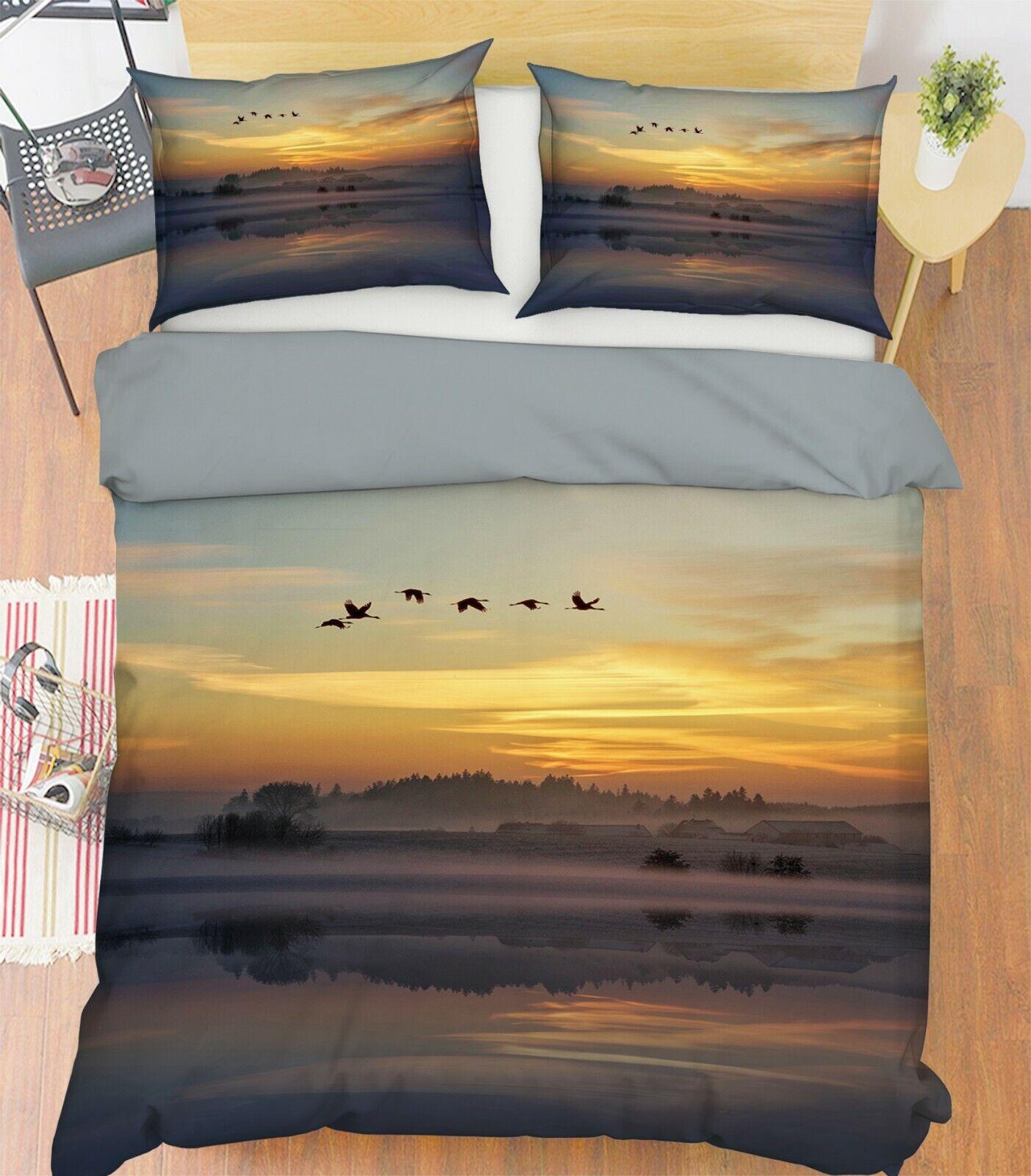 3D Sunset I95 Animal Bett Pillowcases Quilt Duvet Startseite Königin König Angelia