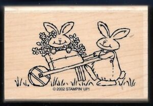 GARDENER-BUNNY-RABBIT-Flower-CART-Spring-Country-Life-STAMPIN-UP-RUBBER-STAMP