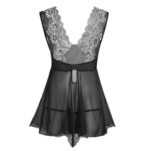 Women Open Cup Sheer Lace Bra+G-string Briefs Babydoll Lingerie Underwear Set