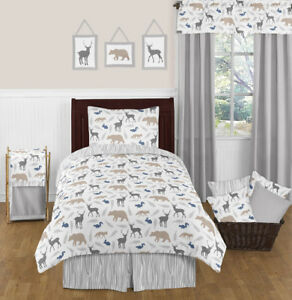 Details about Blue Gray and White Kids Animal Safari Twin Size Bed Boys  Bedroom Comforter Set
