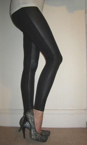 LONG LENGTH Leggings Womens Wet Look Panel Pants SIZE 6 8 10 12 14 16 18 S M L
