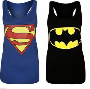 Womens-Ladies-Plus-Size-Sleeveless-Superman-Batman-T-Tee-Shirt-Vest-Top-8-to-26