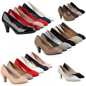 Details zu Klassische Damen Pumps Stiletto Absatz Abendschuhe Leder Optik 810022 Schuhe