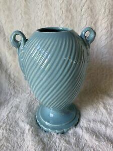 Vintage-Pottery-Vase-Blue-Aqua-Urn-Design-Swirl-Pattern
