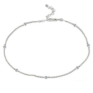 Dainty-CZ-Station-Chain-Choker-Necklace-in-Sterling-Silver