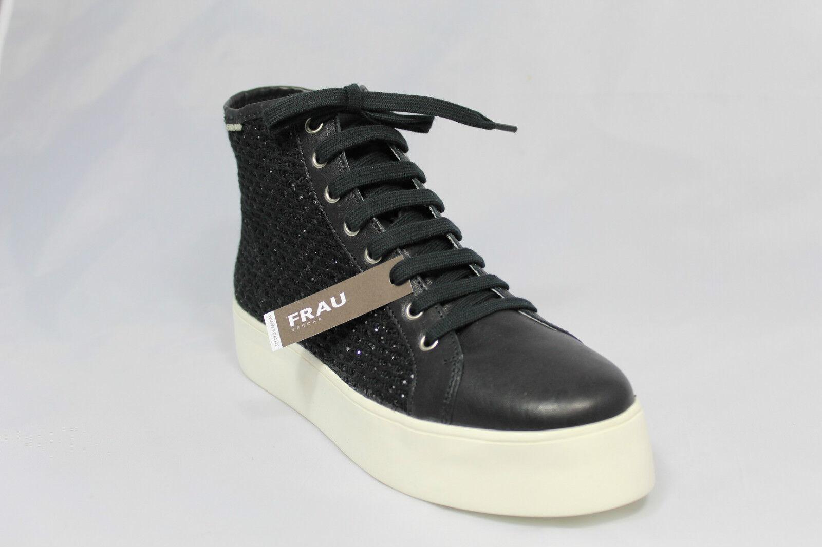 schuhe Damens FRAU POLACCHINO PELLE E TESSUTO 37L5 NERO MADE IN ITALY  Schuhe