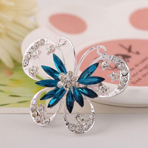 """Grande 2.2/"""" Plata Mariposa Diamante Cristal Broche Boda Nupcial Fiesta Broche"""
