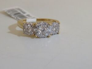 dd7d18db52067 Details about 14K YELLOW GOLD DIAMOND THREE STONE CLUSTER RING 1 CTTW BY  AFFINITY SIZE 7 QVC