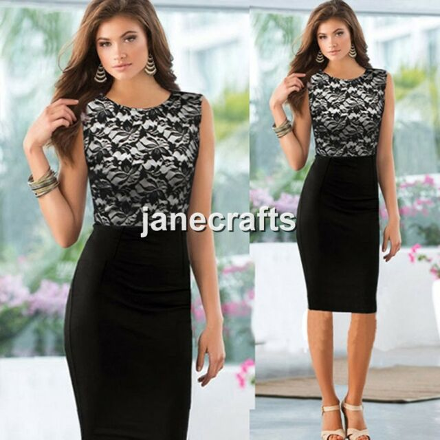 Ladies Women Lace Sleeveless Slim Bodycon Cocktail Party Evening Pencil Dress