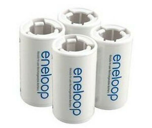 4 Pcs Eneloop Battery Converter Battery Adaptor Holder AA R6 to C R14 C-Size