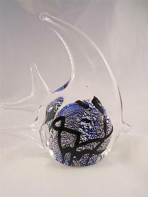 "Unique 5"" Cobalt Blue Art Glass Angel Fish w/Silver Flecks Paperweight/Figurine"