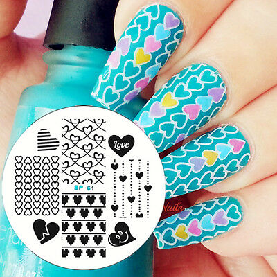 1Pc BORN PRETTY BP61 Nail Art Stamping Template Image Plate Love Heart Pattern
