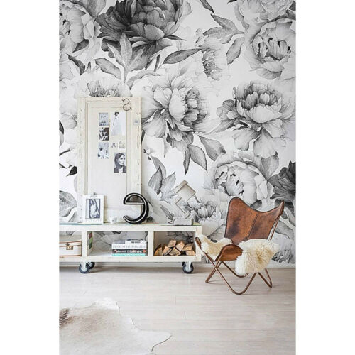 Removable wallpaper Peonies wall Wall Mural Black and white peony Peel and stick