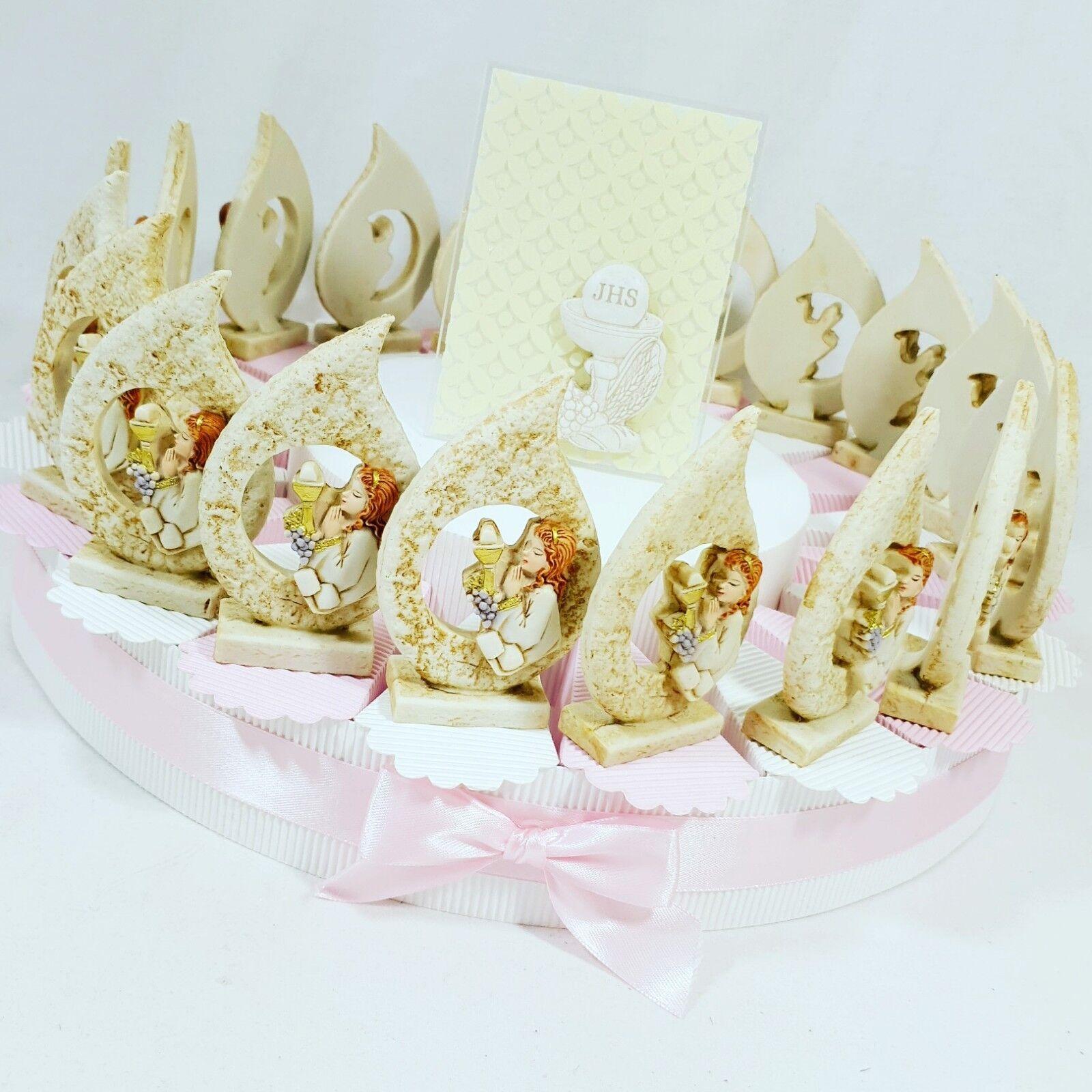 BOMBONIERA COMUNIONE torta porta confetti FIAMMA bimba in pietra PIGNATELLI