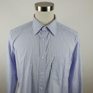 Faconnable Mens Cotton Club Fit LS Button Down Light Blue Striped Shirt Large 17