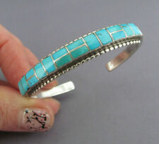 VINTAGE OLD PAWN ZUNI STERLING INLAY PAVER TURQUOISE CUFF BRACELET 20.5g