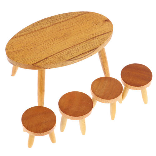Details about  /1Set 1:12 Dollhouse Miniature Wooden Dining Table Chair Doll House Furniture BH