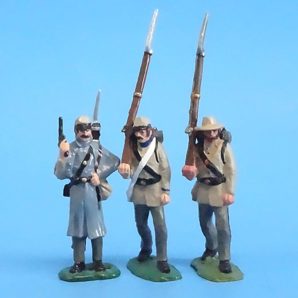 CORD-0741 - Confederate Infantry (3 Figures) - ACW - LeMans - 54mm Metal - No Bo