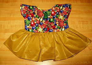 CHRISTMAS-PARTY-DRESS-GOLD-TREE-TRIMMINGS-PRINT-for-16-034-CPK-Cabbage-Patch-Kid