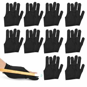 10Pcs Set 3 Fingers Billiard Cue Pool Gloves Snooker Left Hand Nylon Accessories