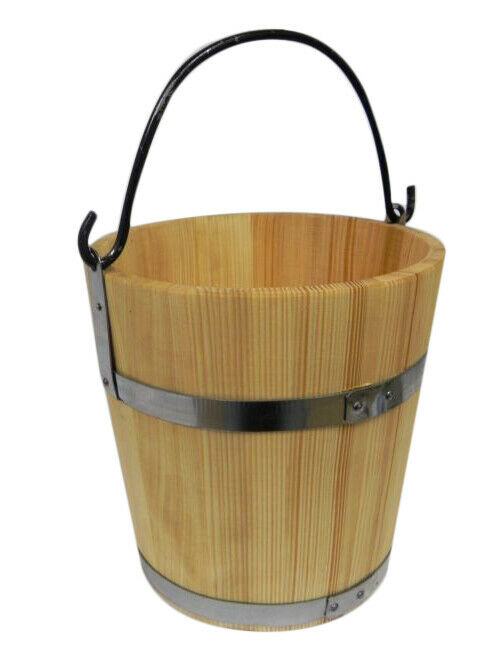 Big Wooden Bucket with metal ring and handle 15l - old style very solid NEW