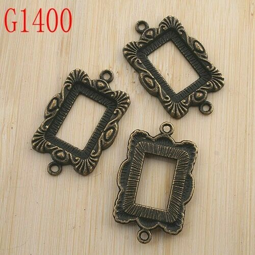 5pcs antiqued bronze color rectangle 18x13mm cabochon setting connector G1400